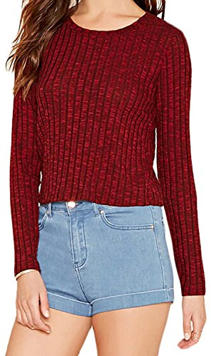 Tirahse Women's Round Neck Long-sleeved Sweater Slim Wine RedUS Large