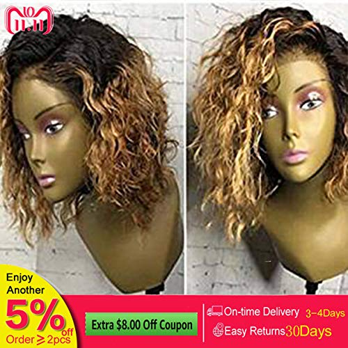 Dream Beauty Hair Short Lace Front Wigs Brazilian Human Hair Ombre 1B/27 Honey Blonde Loose Curly Wave Full Lace Wigs For Black Women (12