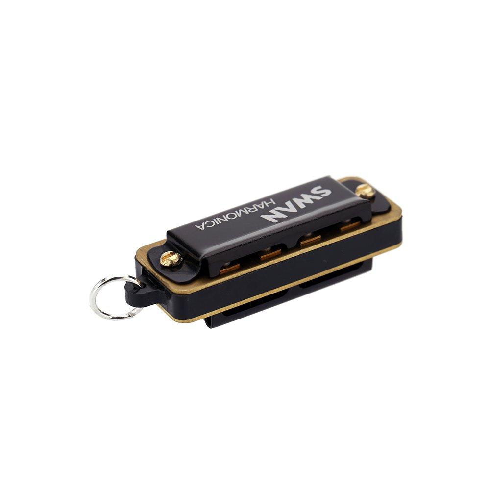 ammoon Mini Armonica 4 Fori 8 Toni Metallo Catena Collana Stile
