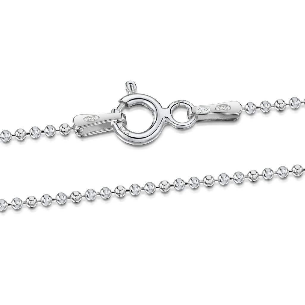 Amberta 925 Sterling Silver 1.2 mm Ball Bead Chain Necklace Length 28'' inch / 70 cm (28)