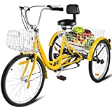 Happybuy Adult Tricycle 1/7 Speed Three Wheel Bike Cruise Bike 24inch Seat Adjustable Trike with Bell, Brake System and Basket Cruiser Bicycles Large Size for Shopping