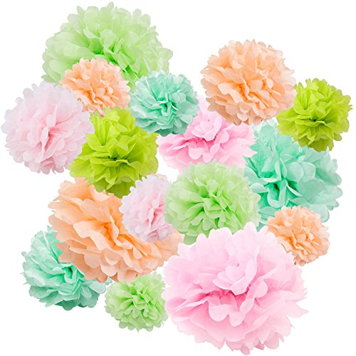 "Floral Reef Variety Set of 16 (Assorted Mint Green Peach Pink Color Pack) consisting of 8"" 10"" 14""Tissue Paper Pom Poms Flower"