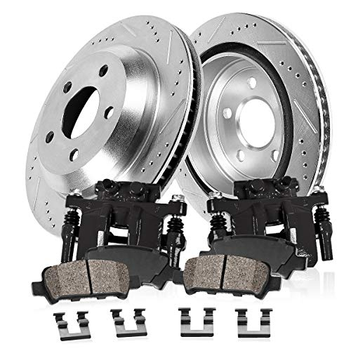CCK02331 FRONT Powder Coated Black [2] Calipers + [2] Zinc Plated D/S Rotors + [4] Ceramic Brake Pads