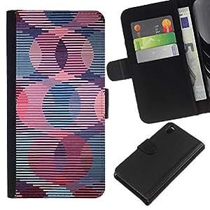 All Phone Most Case / Oferta Especial Cáscara Funda de cuero Monedero Cubierta de proteccion Caso / Wallet Case for Sony Xperia Z3 D6603 // Retro Wallpaper Striped Pattern Pink