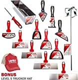 Pro Grade Drywall Knife Set - Stainless Steel - BONUS Free Hat | Taping Finishing Tool Blades | Sheetrock Gyprock Plasterboard | Level 5 Tools
