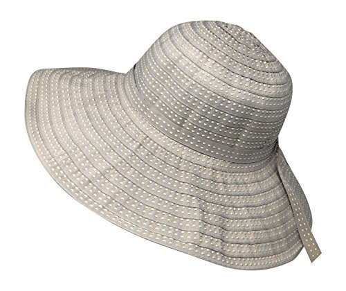Packable Ribbon Crusher Sun Shade Beach Hat, Adjustable Wide Shapeable Brim, SPF UPF 50 UV Protection (Beige) (Crusher Hat Ribbon)