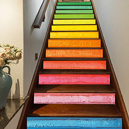 FLFK 3D Oil Painting Rainbow Art Self-Adhesive Stairs Risers Stickers Removable Vinyl Staircase Stickers Home Decor 39.3Inch x7.08Inch x 13PCS