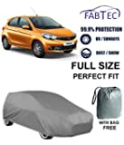Fabtec Premium Quality Waterproof Car Body Cover with Full Bottom Elastic, Big Belt & Buckle for Tata Tiago with Storage Bag Free! (Colour May Vary) (Heavy Duty)