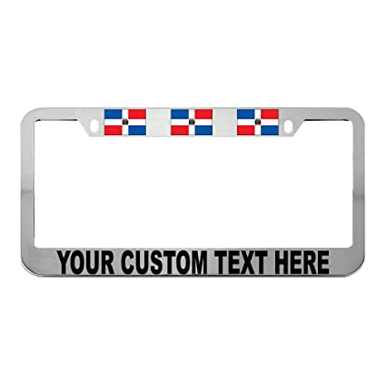 DOMINICAN REPUBLIC FLAG Metal License Plate Frame Tag Holder