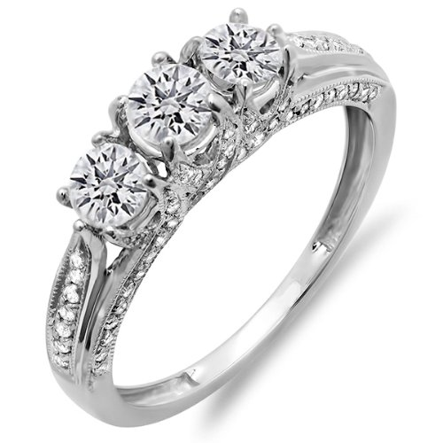 1.00 Carat (ctw) 10k Gold Round Diamond Ladies Vintage Bridal 3 Stone Engagement Ring 1 CT