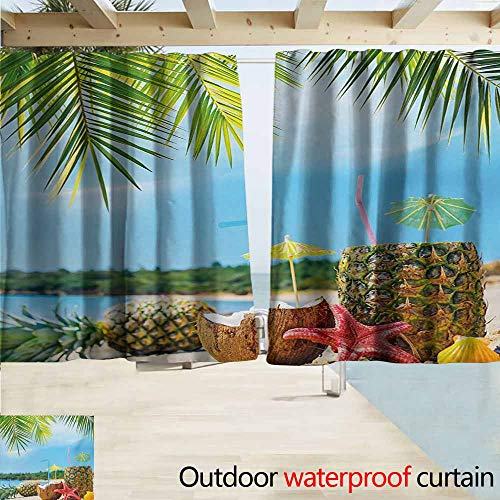AndyTours Rod Pocket Curtains,Tropical Fresh Summer Fruits Coconut and Pineapple Drinks at Exotic Beach Palm Trees,Energy Efficient, Darkening,W63x63L Inches,Blue Green Brown