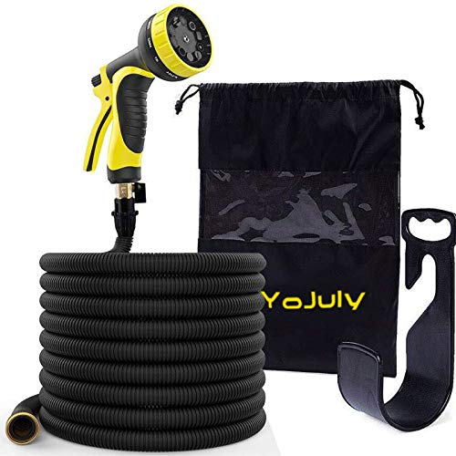(YOJULY Garden Hose-100ft Expandable Hose - Heavy Duty Flexible Leakproof Hose - 9-Pattern High-Pressure Water Spray Nozzle & Bag & Plastic Holder.No Kink Tangle-Free Pocket Water Hose)