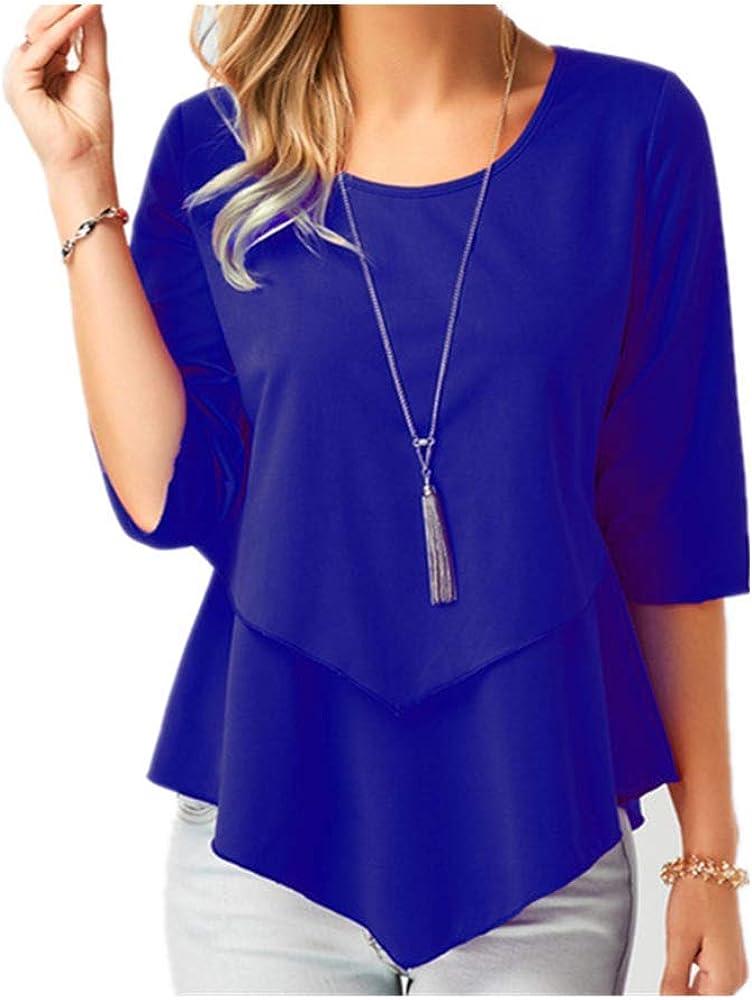 Blusa de gasa de manga media para mujer, talla grande, lisa, casual, camisas elegantes de verano para mujer, blusas y blusas