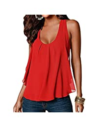 Women Crewneck Casual Loose Chiffon Sleeveless Tank Vest Shirt T-shirt Top