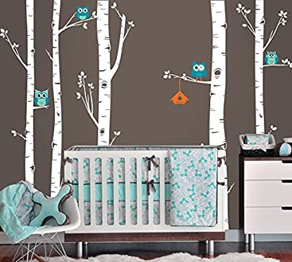 Owls And Birch Tree Forest Wall Decal, Birch Trees, Birch Forest, Birch Tree