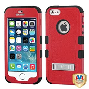 For APPLE iPhone 5/5S TUFF Hybrid Case Cover w/Stand Natural Red/Black MYBAT