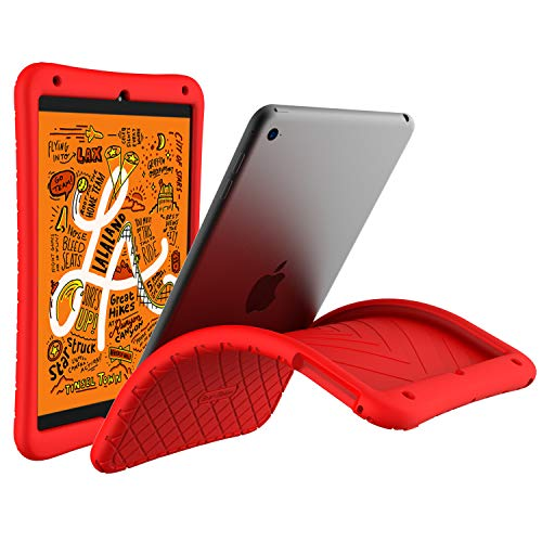 Bear Motion Silicon Case for iPad Mini 5 2019 - Anti Slip Shockproof Light Weight Kids Friendly Protective Case for (iPad Mini 5/4, Red) (Case Silicone Mini Ipad)
