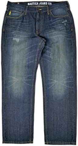 Nautica Jeans Men's Straight Leg Distressed Jeans Riptide Wash 36W x 30L