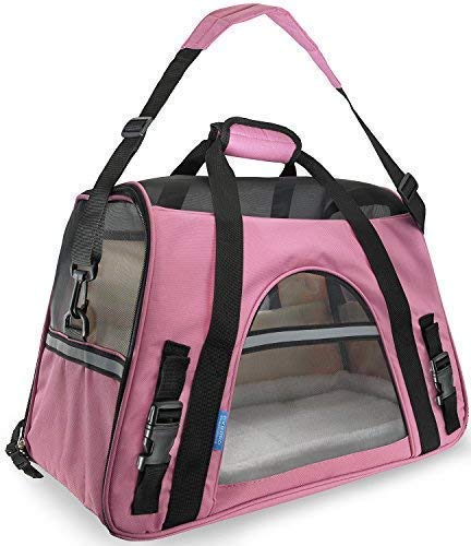 Paws & Pals Airline Approved Pet Carrier - Soft-Sided Carriers for Small Medium Cats and Dogs Air-Plane Travel On-Board Under Seat Carrying Bag with Fleece Bolster Bed for Kitten Cat ()