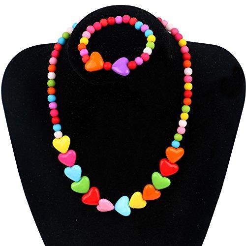 Unijew Kids Jewelry Heart with Heart Fashion Jewelry for Girls Necklace Bracelet Set For Little Girls Children ()