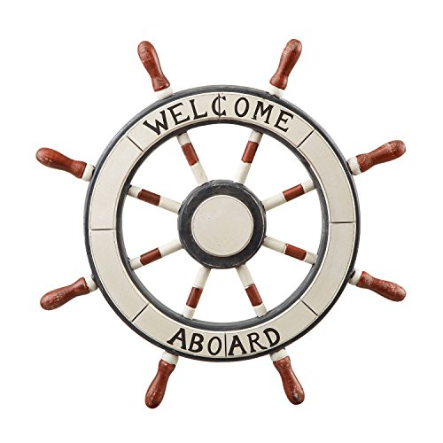 (Asense Ornamental Wall Decoration Wooden Nautical Ship Steering Wheel with Welcome Aboard Word, 24-inch, White)