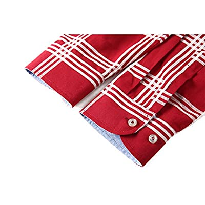 MiCotton Men's Cotton Long Sleeve Button Down Cotton Plaid Casual Shirts