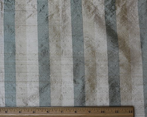 (Green & Beige & Cream Dupioni Stripes, 100% Silk Fabric, By The Yard, 54