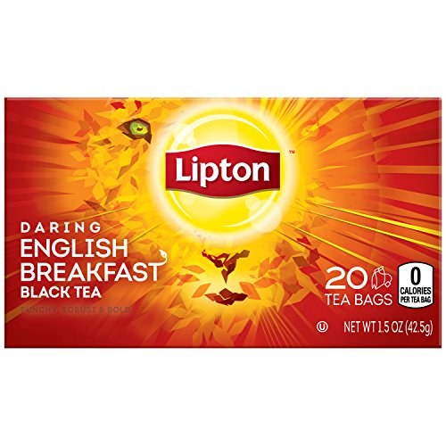 Lipton Black Tea Bags, Daring English Breakfast 20 ct (Pack of 6)