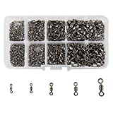 Shaddock Fishing ® 500pcs/box Size 2 4 6 8 10 Fishing Rolling Swivel High-strength Stainless Steel Rolling Barrel Swivel Fishing Tackle-30Lb to 350 Lb