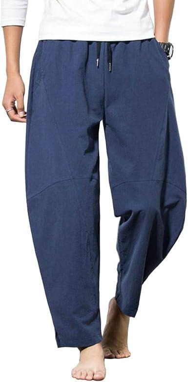 EKLENTSON - Pantalones de algodón para hombre, de gran tamaño, pantalones de yoga, elásticos, para uso de vacaciones: Amazon.es: Ropa y accesorios