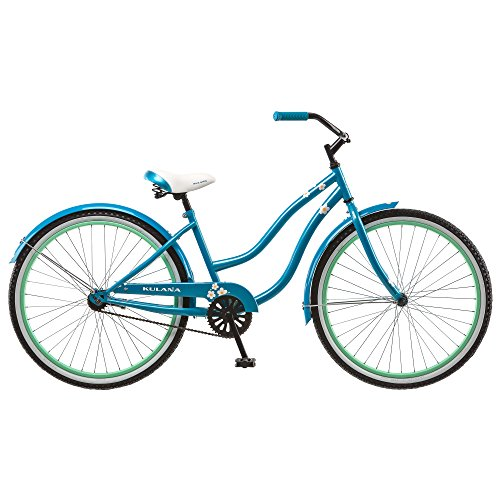 Kulana Cruiser with Steel Step-Through Frame, Full Front and Rear Fenders, and Chain Guard, 26-Inch Wheels, Blue