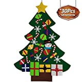UMIKU Felt Toddlers 30pcs Ornaments DIY Tree Kids Xmas Gifts Year Home Door Wall Hanging Decorations Christmas Décor, 39.4 Inches, Multicolor