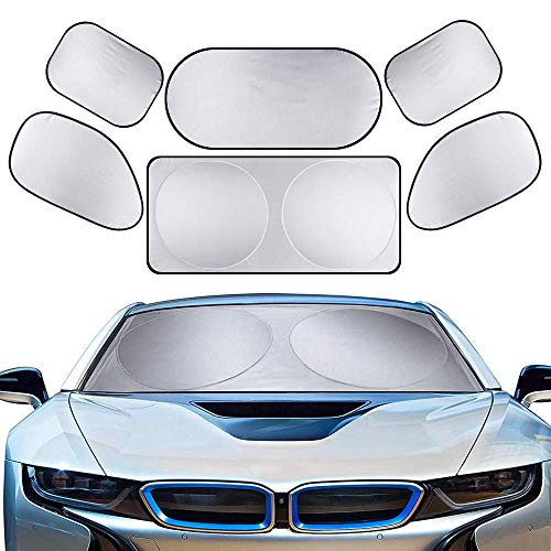 (6Pcs/Set Full Car Windshield Sun shade, Side Front Rear Window Reflective Shade, Block UV Protection Foldable Reflective Coating, Keeps Vehicle Cool, for All Cars SUV Truck)