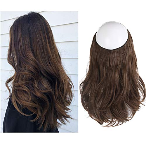 Short Hair Extensions Halo Wire Sercet Crown Wavy Curl Synthetic Brown Hairpieces For Women Invisible No Clip No Glue No Tape Heat Resistant Fiber 14