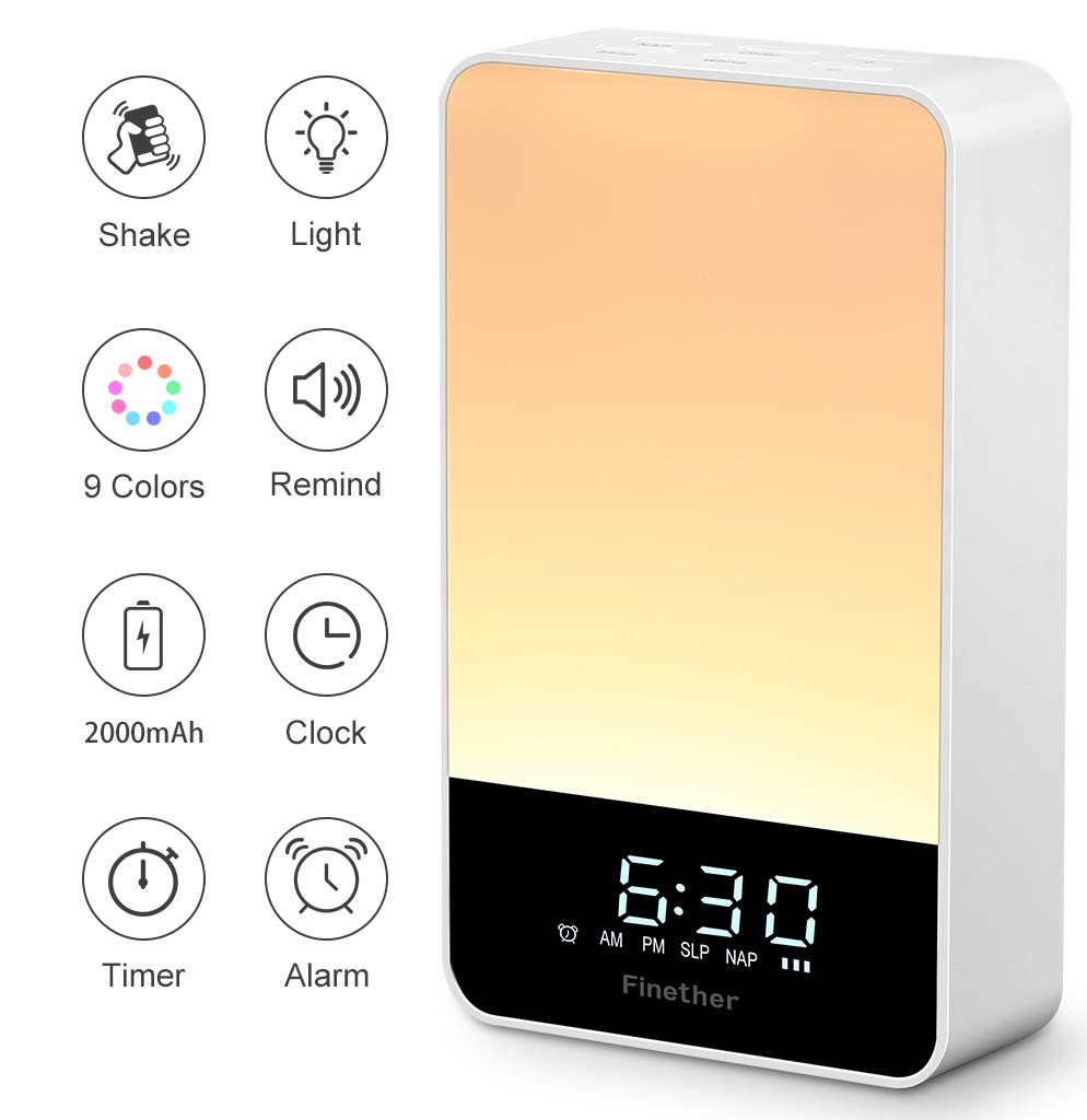 Finether Wake Up Light Alarm Clock Light Music Beside Lamp LED with Snooze Function Sleep Timer Beep Timer 7 Wake-Up Sounds 9 Light Colors Night Light with 5 Brightness Levels Operated by Button and Shaking for Home Office product image