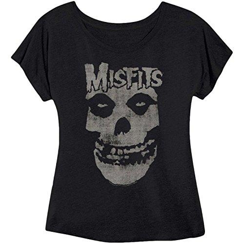 Impact Womens Misfits Distressed Skull Dolman Fitted Black T Shirt