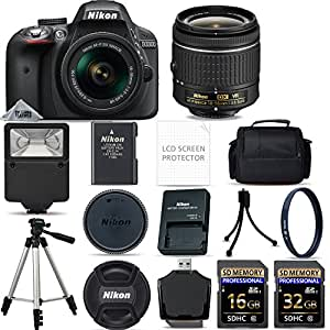 Nikon D3300 Digital SLR Camera AF-P 18-55mm VR Lens Kit - Black + 48GB SD Memory Card + Flash + UV Filter Kit + Tripod + Full Accessory Bundle