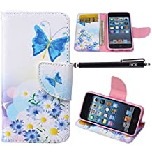 iPod Touch 5 Case, i Touch 6 Case Wallet, iYCK Premium PU Leather Flip Folio Carrying Magnetic Closure Protective Shell Wallet Case Cover for iPod Touch 5/6 with Kickstand Stand - Butterfly Blossom
