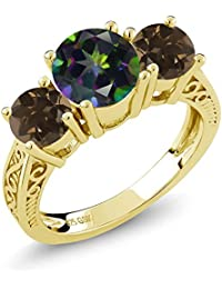 2.22 Ct Green Mystic Topaz Brown Smoky Quartz 18K Yellow Gold Plated Silver 3-Stone Ring