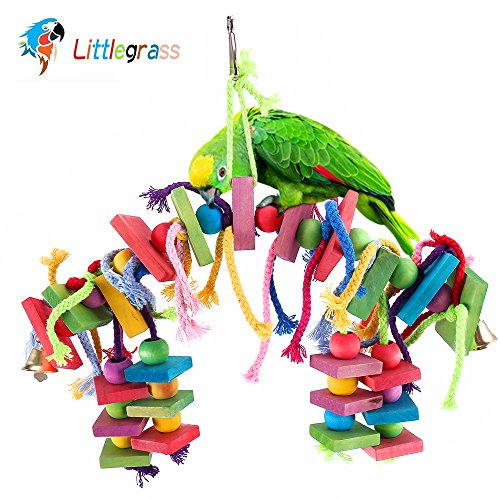 Littlegrass Bird Chew Toy Knots Block Parrot Chewing Toys 100% Natural Colorful Bird Cage Accessories Hanging Decorative for Parrots African Grey Cockatiels Parakeets Conures Lovebirds