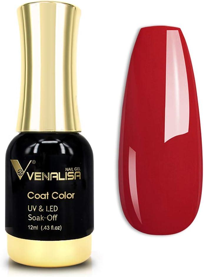 VENALISA Gel Nail Polish, 12ml Red Color Soak Off UV LED Nail Gel Polish Nail Art Starter Manicure Salon DIY at Home, 0.43 OZ