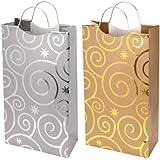 Revel Paper 0135 Double Bottle Flashing Bulbs Paper Bag, Gold/Silver