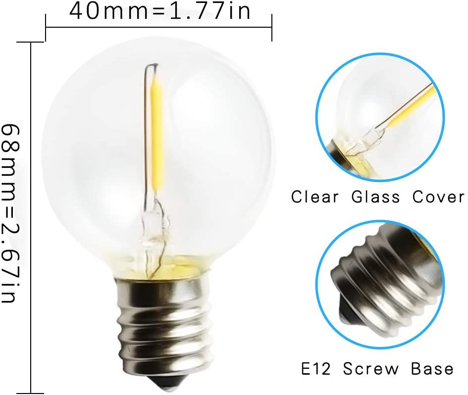 Svater 25 Pack G40 LED String Lights Replacement Bulb E12 Screw Base Warm White