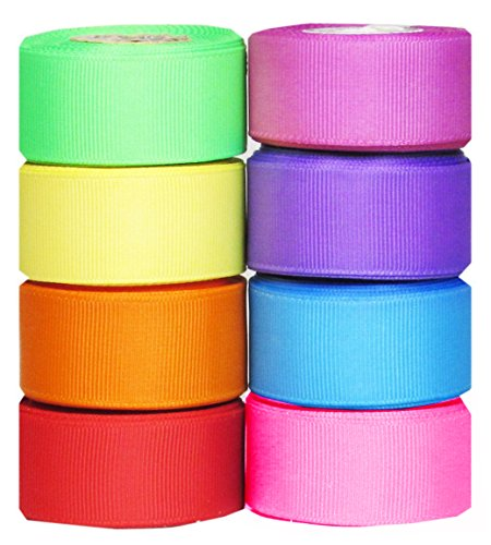 "Hipgirl 40 Yards 7/8"" Holiday Grosgrain Fabric Ribbon Set For Gift Package Wrapping, Hair Bow Clips & Accessories Making, Crafting, Sewing, Wedding Decor, Boy Girl Baby Shower-(8x5yd Summer Bright)"