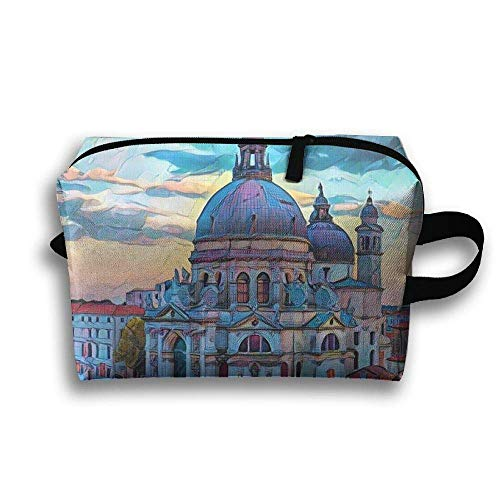 Seaside Castle - Portable Waterproof Travel Cosmetic Bag - Seaside Castle Oil Painting Lady Makeup Organizer Clutch Bag with Zipper - Travel Toiletry Storage Pouch Pencil Holder