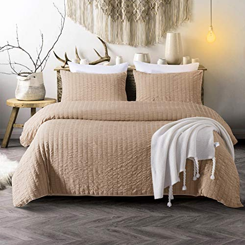 Cozyholy Seersucker Duvet Cover Set 3-Piece Nature Style Water-Washed Microfiber Bedding Set with Zipper and Corner Ties