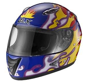 GLX Dragon Flame Youth Full Face Motorcycle Helmet (Blue, Medium)