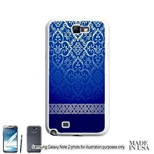Live the Life You Love (Not Actual Glitter) - Vintage Blue Gold Damask Pattern Lace Samsung Galaxy Note II 2 N7100 Hard Case - WHITE by Unique Design Gifts