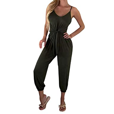 919c8ca6b680 Amazon.com: Orangeskycn Women Jumpsuits and Rompers Solid Loose Sleeveless  Club Party Playsuits: Clothing