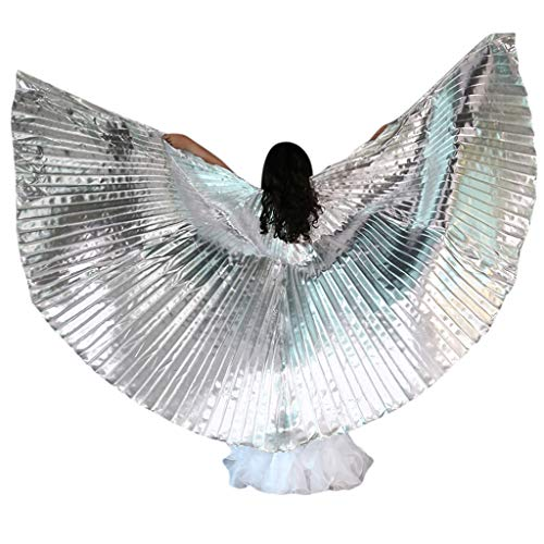 MEANIT Belly Dance 360 Degree Isis Wings with Portable Flexible Sticks Silver -